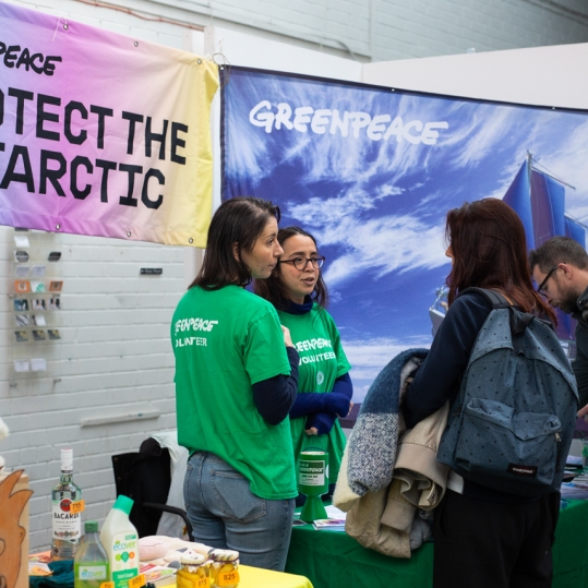 Edinburgh Eco Fair at Out of the Blue Drill Hall. Organised by local Greenpeace group. Photographed by Malena Photography.